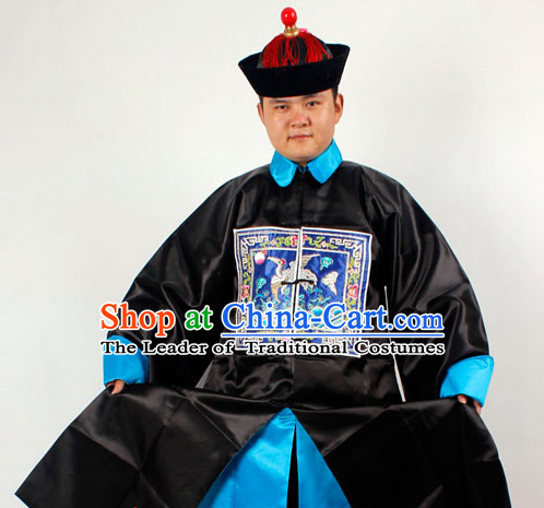 Chinese Traditional Opera Embroidered Official Costumes and Hat Complete Set for Men