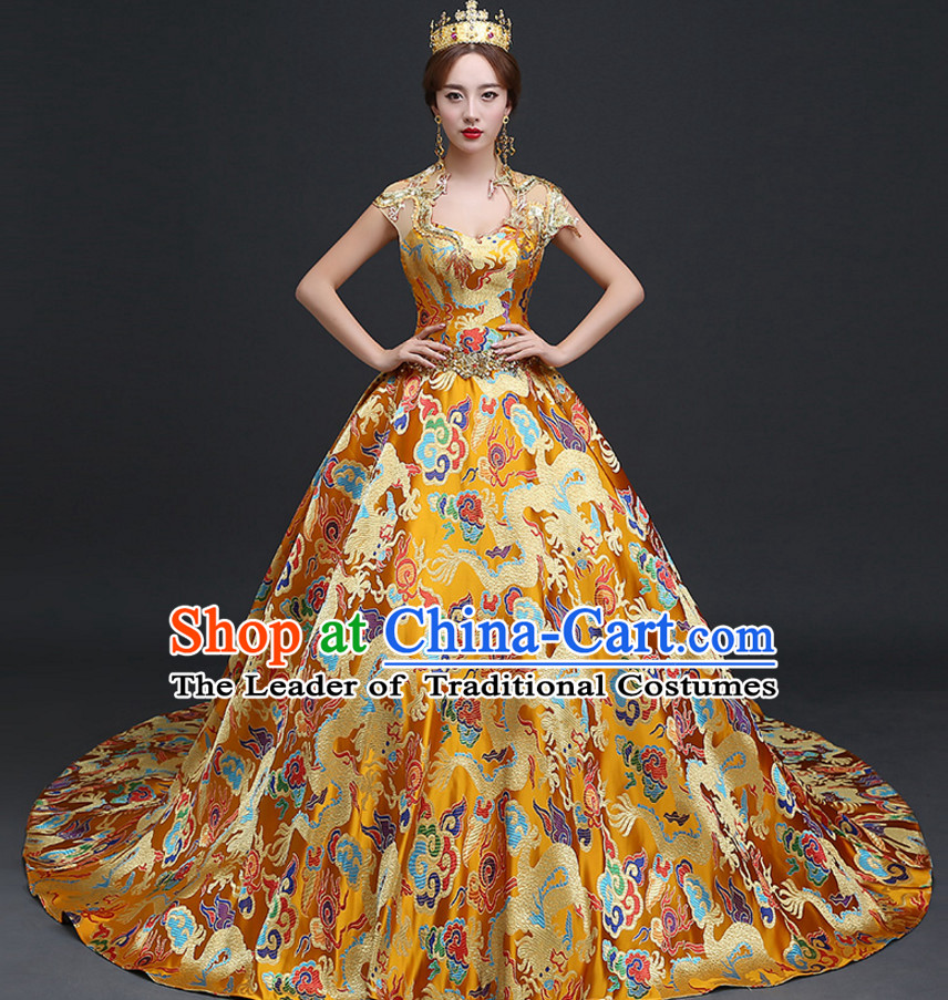 Top Chinese Gold Wedding Dress and Headwear Complete Set