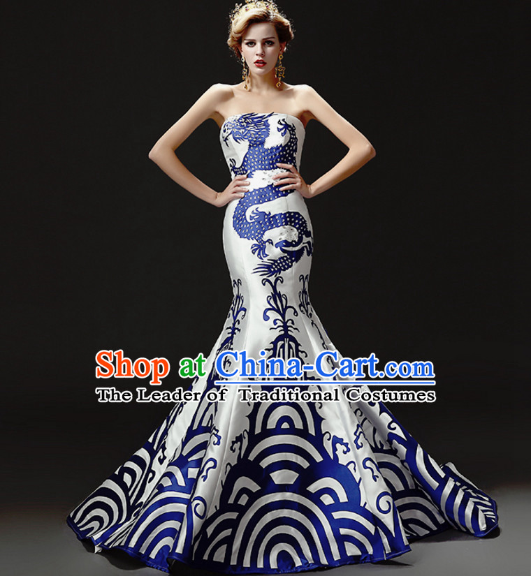 Top Chinese Blue White Long Tail Wedding Dress Evening Dress Complete Set