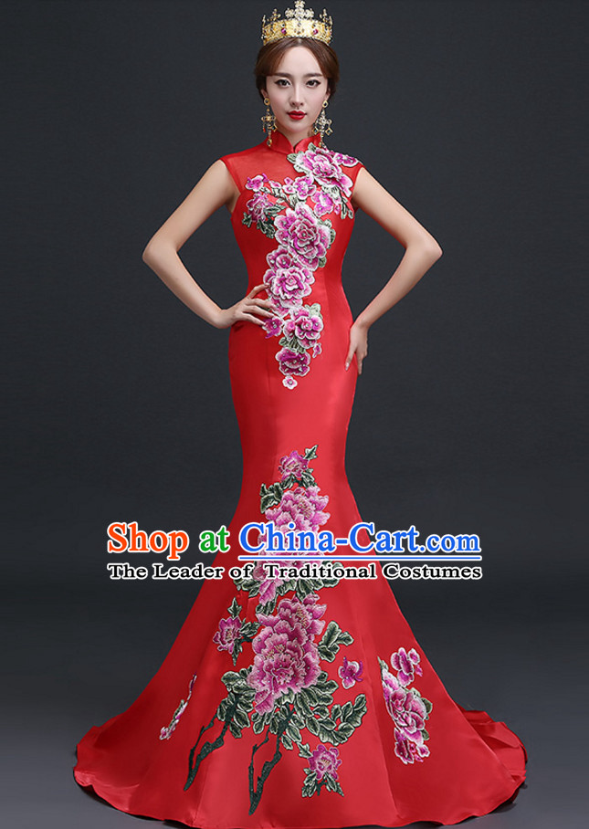 Top Chinese Red Long Tail Wedding Dress Evening Dress and Hair Jewelry Complete Set