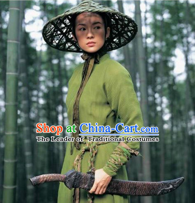 Ancient Chinese Swordswoman Costume and Bamboo Hat Complete Set for Women or Men