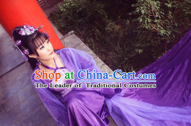 Purple Traditional Chinese Classical Princess Hanfu Clothes Complete Set with Long Tail