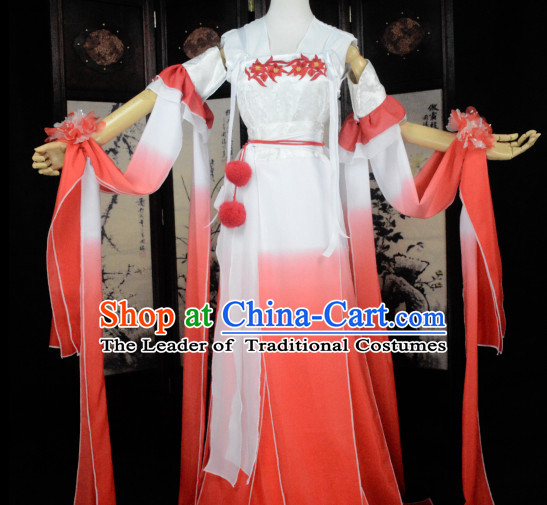 Red and White Traditional Chinese Classical Hanfu Clothes Complete Set with Long Tail