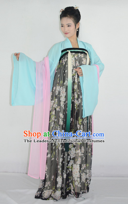 Ancient Chinese Tang Dynasty Ruqun Hanfu Garment and Hair Accessories Complete Set for Women