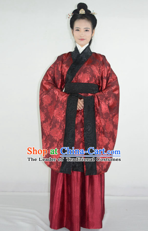 Ancient Chinese Han Dynasty Hanfu Garment and Hair Accessories Complete Set for Women
