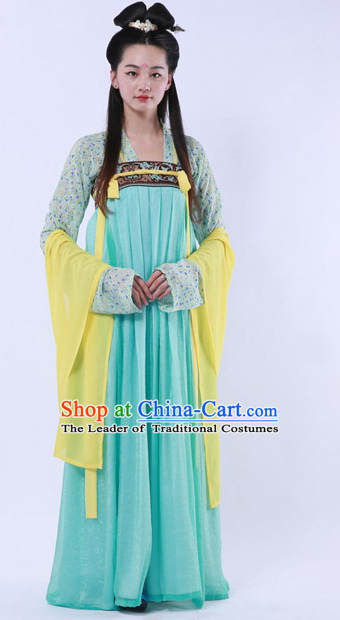 Ancient Chinese Tang Dynasty Hanfu Garment Clothing and Hair Accessories Complete Set for Women