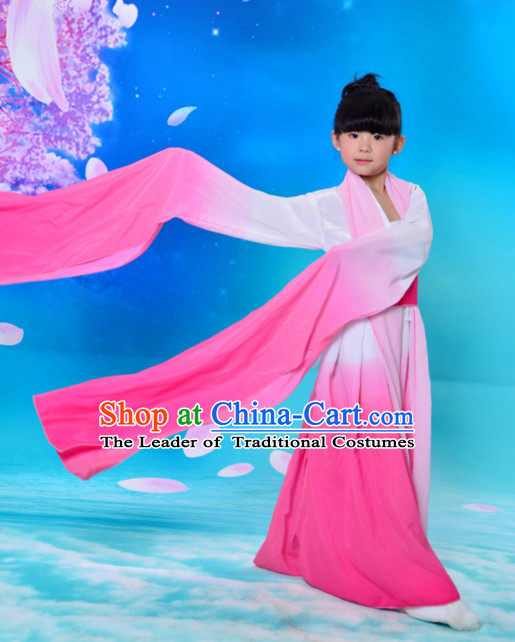 Color Transition Chinese Classical Long Sleeves Water Sleve Dance Costumes for Kids Children