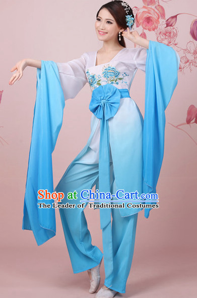 Chinese Classical Water Sleeve Shuixiu Dance Costumes Complete Set for Women