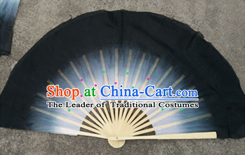 Color Transition Black White Silk Dance Fan