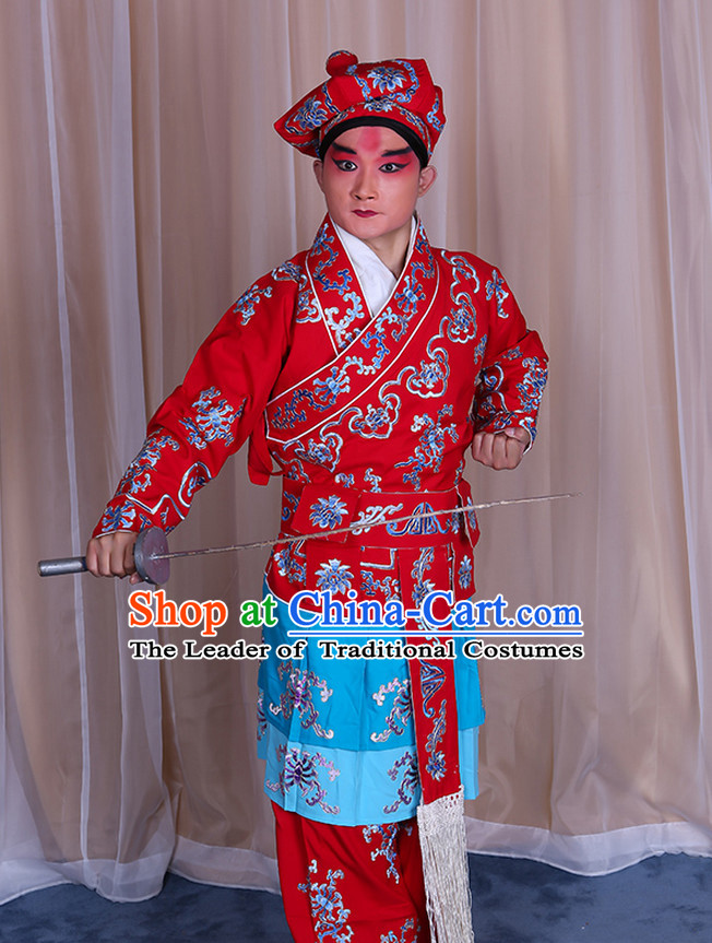 Top Embroidered Chinese Classic Peking Opera Wusheng Costume Beijing Opera Wu Sheng Fighting Costumes Complete Set for Adults Kids Men Boys