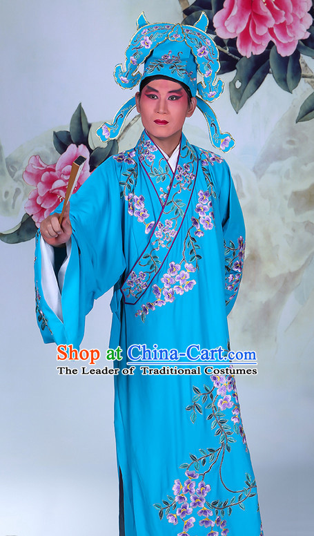 Top Embroidered Chinese Classic Peking Opera Scholar Costume Beijing Opera Robe Costumes Complete Set for Adults Kids
