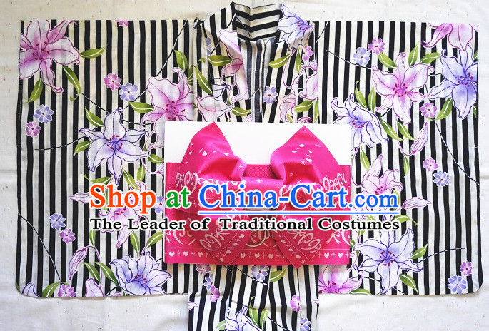 Traditional Japanese Kimono Fashion Furisode Yukata Clothing Robe Dress online Complete Set for Women