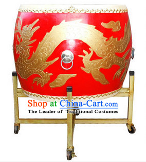 Professional Carved Dragon Wooden Drum and Drum Stand Set