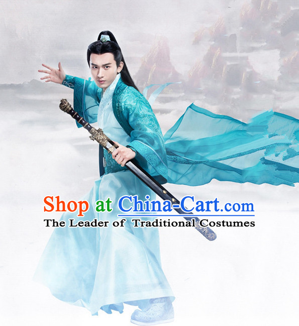 Ancient Chinese Hero Armor Costumes Swordsman Hanfu Dresses Complete Set for Men and Teenagers