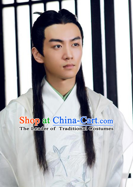 Ancient Chinese Scholar Long Black Wigs for Men Boys