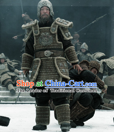 Ancient Chinese Palace General Body Armor Costumes Garment Clothing and Helmet Complete Set for Men