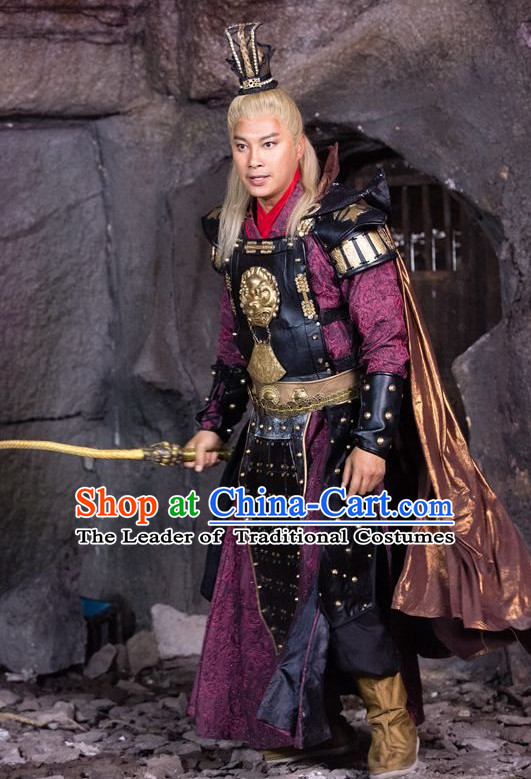 Chinese Ancient General Armor Costumes and Hat Complete Set for Men