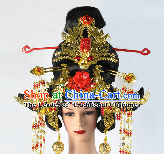 Ancient Chinese Tang Dynasty Emperor Wu Zetian Wigs and Headpieces Set