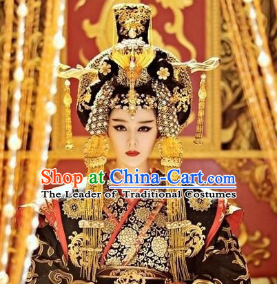 Ancient Chinese Tang Dynasty Wu Zetian Emperor Royal Crown Head Pieces Hat