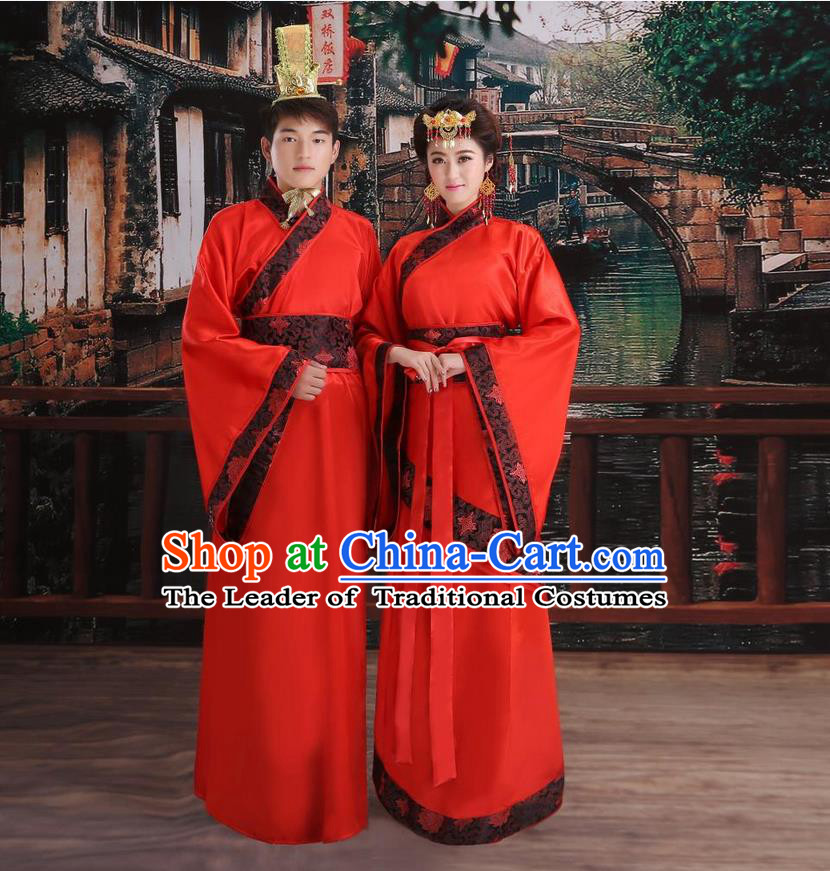 Ancient Chinese Palace Empress King Red Costumes Complete Set, Han Dynasty Ancient Palace Wedding, Empress And Emperor Hanfu Dress Suits