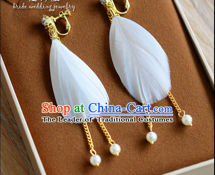 Traditional Jewelry Accessories, Princess Bride Earring, Wedding Accessories, Baroco Style Feather Earrings for Women