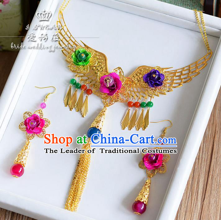 Chinese Ancient Style Jewelry Accessories, Traditional Earrings, Princess Hanfu Xiuhe Suit Wedding Bride Necklace, Necklace and Earrings Women