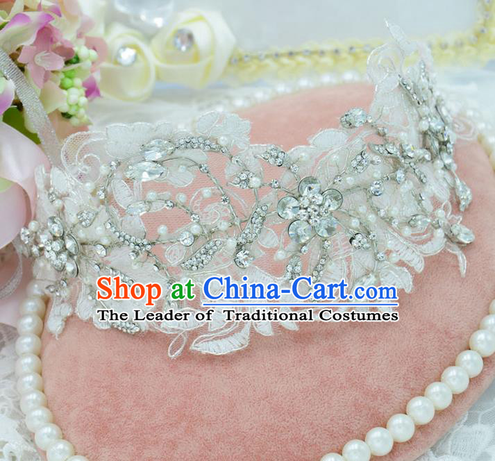 Traditional Jewelry Accessories, Princess Wedding Hair Accessories, Bride Wedding Hair Accessories, Earrings, Baroco Style Pearl Lace Headwear and Earring for Women