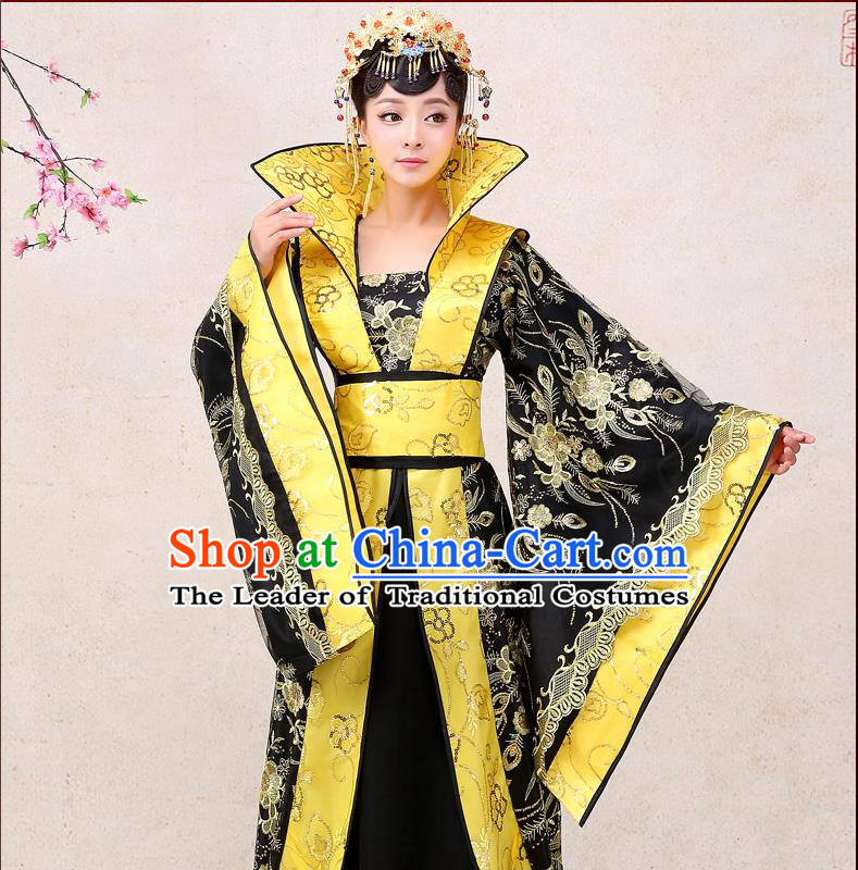 Ancient Chinese Palace Empress Costumes Complete Set, Tang Dynasty, Hanfu, Ancient Palace Queen Wedding Red Dress Suits For Women