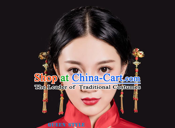 Chinese Ancient Style Hair Jewelry Accessories, Hairpins, Hanfu Xiuhe Suits Wedding Bride Headwear, Earrings For Women