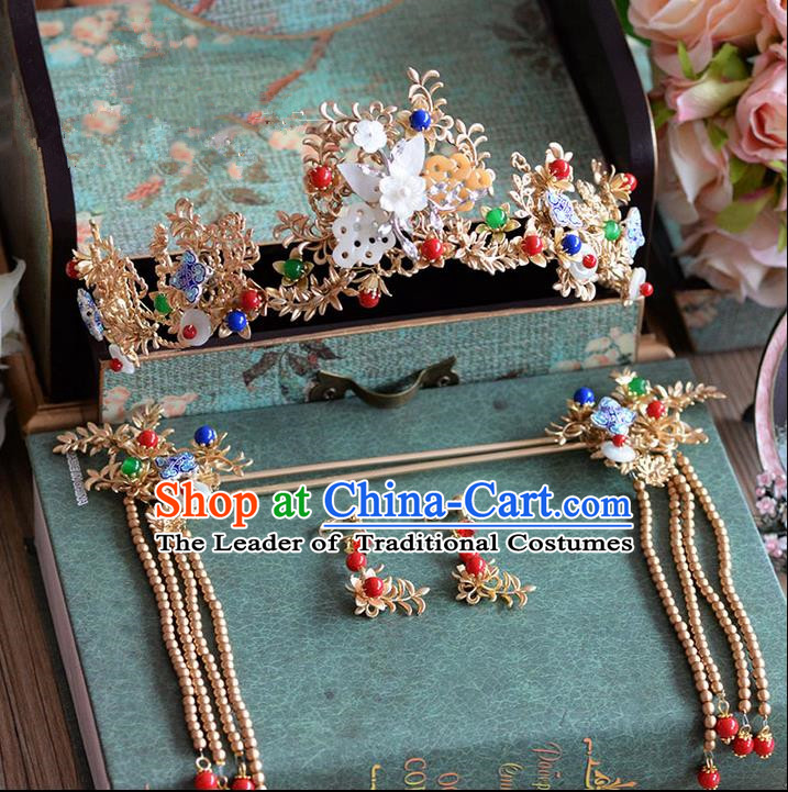 Chinese Ancient Style Hair Jewelry Accessories, Hairpins, Hanfu Xiuhe Suits Wedding Bride Headwear, Traditional Headdress, Imperial Empress Handmade Hair Fascinators for Women
