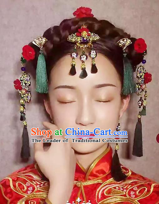 Chinese Ancient Style Hair Jewelry Accessories, Hairpins, Hanfu Xiuhe Suits Wedding Bride Headwear, Traditional China Earrings, Imperial Empress Handmade Hair Fascinators for Women