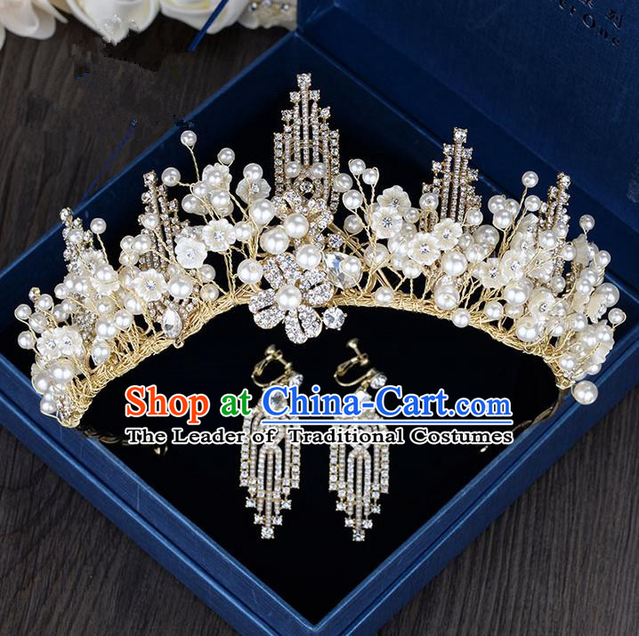 Traditional Jewelry Accessories, Palace Princess Bride Royal Crown, Engagement Royal Crown, Wedding Accessories Earring, Baroco Style Crystal Headwear and Earrings Set for Women