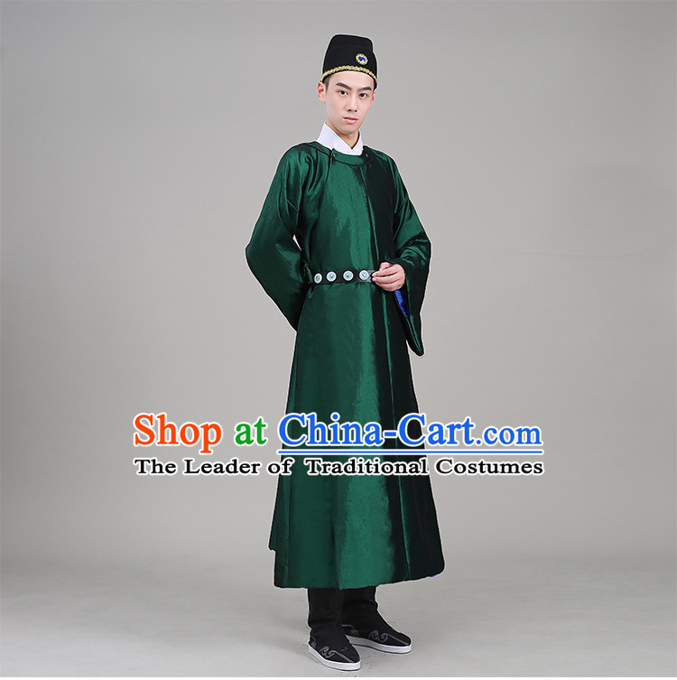 Tang Dynasty robes Traditional Regular Robe Tang Suit Cotton and linen Round Collar Round Neck attach collar Costume stage clothes Show Green