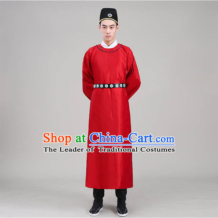 Tang Dynasty robes Traditional Regular Robe Tang Suit Cotton and linen Round Collar Round Neck attach collar Costume stage clothes Show