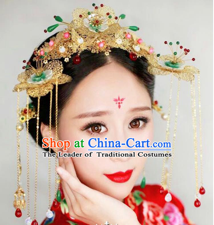 Chinese Ancient Style Hair Jewelry Accessories, Hairpins, Hanfu Xiuhe Suits Wedding Bride Headwear, Headdress, Imperial Empress Handmade Hair Fascinators Set for Women