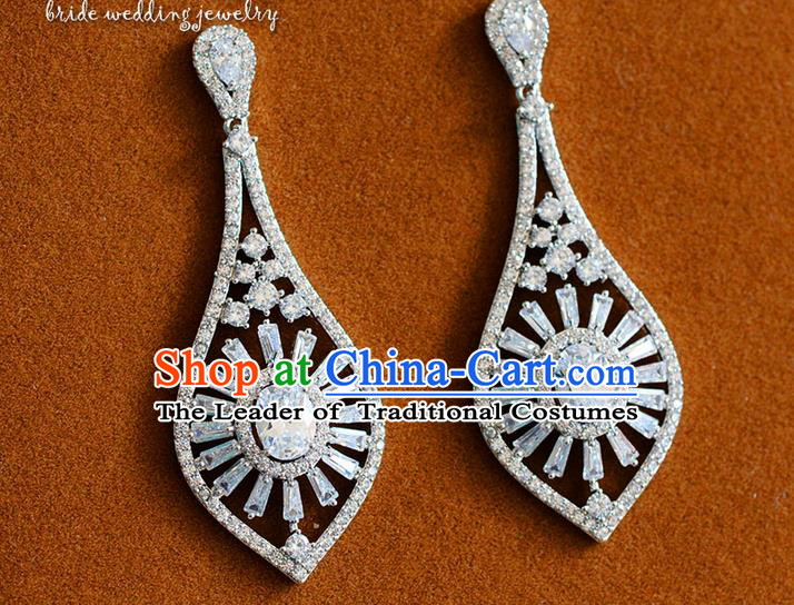 Traditional Jewelry Accessories, Palace Princess Wedding Earring Accessories, Baroco Style Crystal Earrings for Women