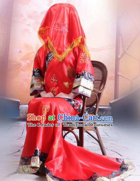 Chinese Bridal Gown Wedding Dress High Quality Lotus Picture Weaving Silk Brocade Trailing