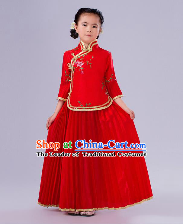 Traditional Chinese Costumes Complete Set, Qing Dynasty Ancient Princess Skirt,  Republic of China National Costume, Guzheng Classical Dance Performance Clothing for Kids