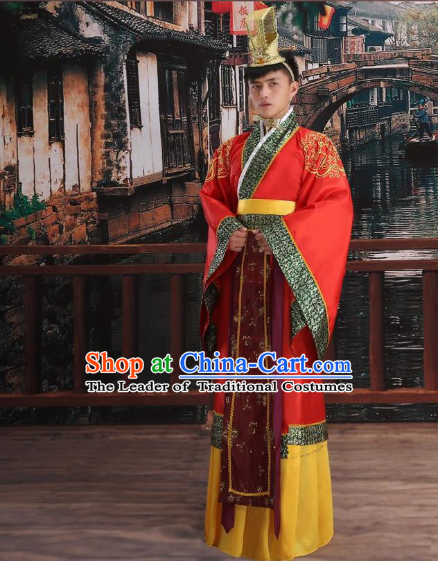 Ancient Chinese Palace Emperor Costumes Complete Set, Han Dynasty Ancient Palace Majesty Wedding Clothing, Imperial King Robe Suits for Men