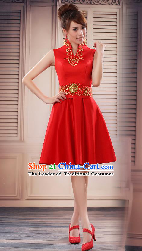 Ancient Chinese Costumes, Manchu Clothing, Hotel Etiquette Improved Short Cheongsam, Traditional Red Cheongsam Wedding Toast Dress for Bride