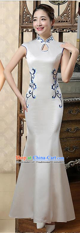 Ancient Chinese Costumes, Manchu Clothing Qipao, Retro Silk Mandarin Collar Cheongsam, Traditional Fish Tail Cheongsam Wedding Toast Dress for Bride