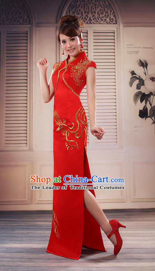 Ancient Chinese Costumes, Manchu Clothing Qipao, Improved Long Silk Mandarin Collar Cheongsam, Traditional Red Cheongsam Wedding Toast Dress for Bride