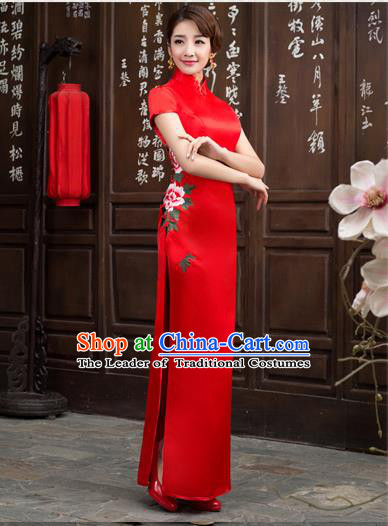 Ancient Chinese Costumes, Manchu Clothing Qipao, Retro Long Silk Mandarin Collar Embroidered Cheongsam, Traditional Red Cheongsam Wedding Toast Dress for Bride