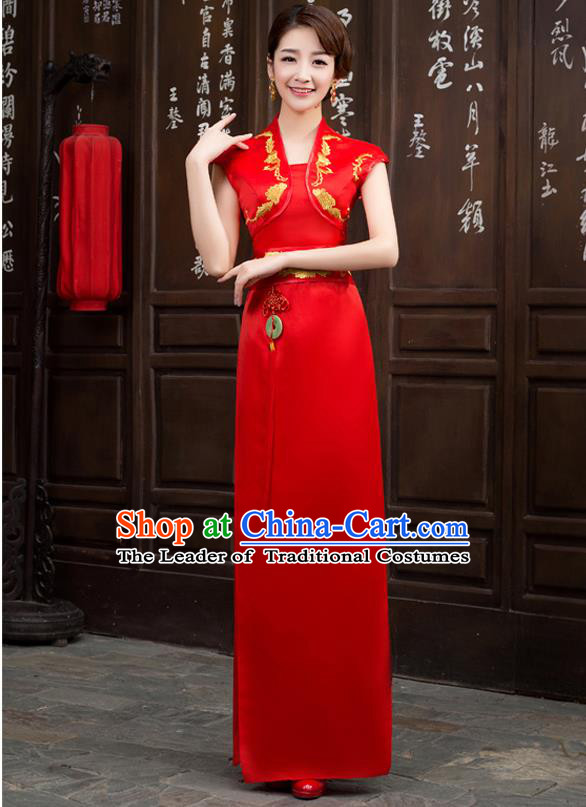 Ancient Chinese Costumes, Manchu Clothing Qipao, Improved Long Silk Cheongsam, Traditional Red Cheongsam Wedding Toast Dress for Bride
