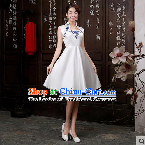 Ancient Chinese Costumes, Manchu Clothing Qipao, Improved Short Silk Cheongsam, Traditional Cheongsam Wedding Toast Dress for Bride