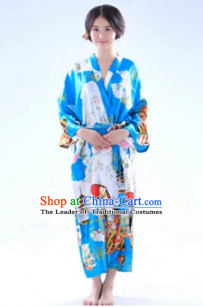 Kimono Japanese Tomesode Traditional Clothes Wafuku Stage Show Aristolochia ringens Light Blue