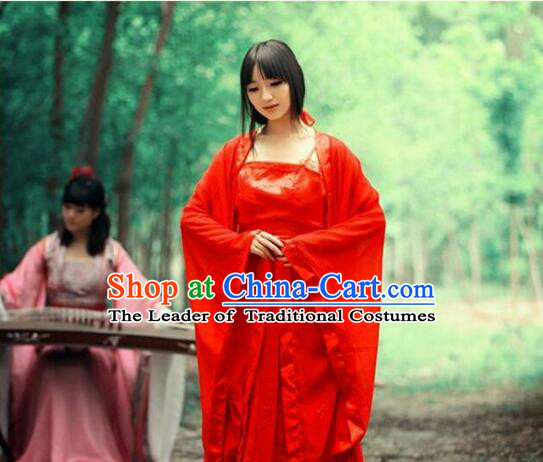 Chinese Classical Xiao Long Nv Costumes Complete The Return of the Condor Heroes Set Han Fu Stage Show Chiffon Dress Red