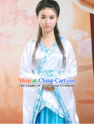 Tang Suit Women Han Fu Set curving-front Chinese Ancient Costume Stage Ceremonial Clothes Blue