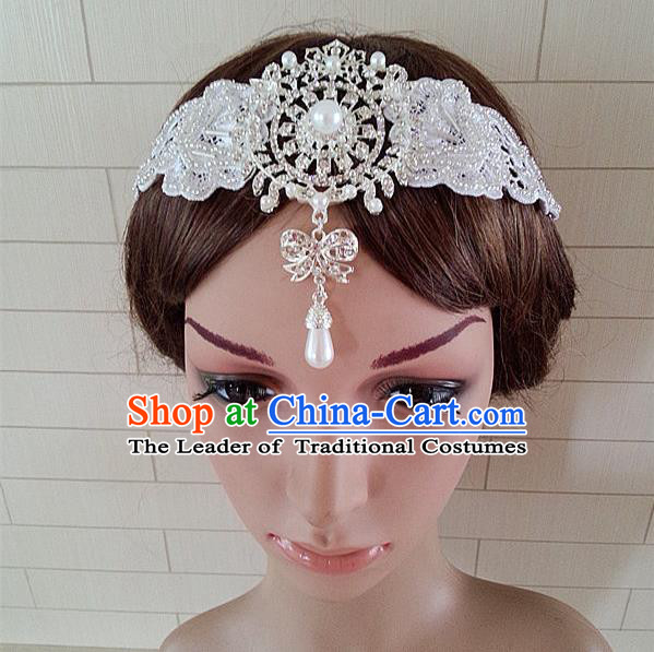 Chinese Wedding Jewelry Accessories, Traditional Bride Headwear, Princess Wedding Crystal Tiaras, Imperial Bridal Baroco Style Wedding Lace Tassels Pearl Hair Clasp