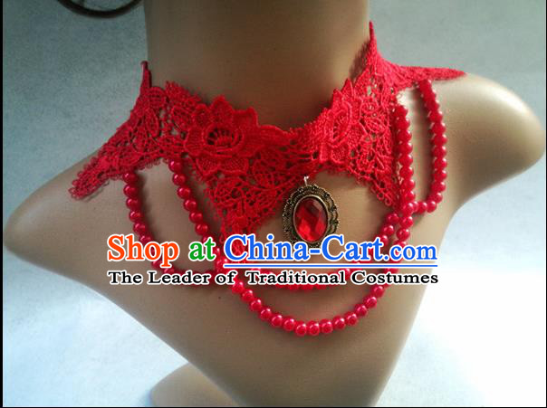 Chinese Wedding Jewelry Accessories, Traditional Bride Nceklace, Princess Wedding Necklet, Imperial Bridal Baroco Style Wedding Lace Crystal Collar